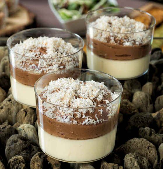 Crème coco et mousse chocolat