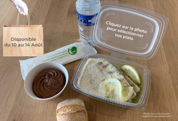 Lunch «Dans les bois» (plat à réchauffer) (1 plat au choix, 1 dessert au choix,1 petit pain, 1 eau de source 50cl, 1 sachet de couverts)