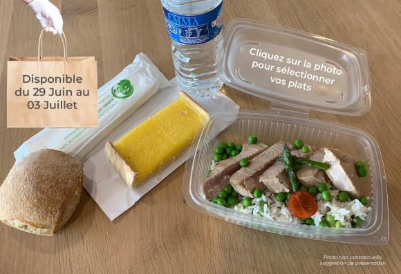 Lunch «Dans les champs» (plat à réchauffer) (1 plat au choix, 1 dessert au choix,1 petit pain, 1 eau de source 50cl, 1 sachet de couverts) (copie)