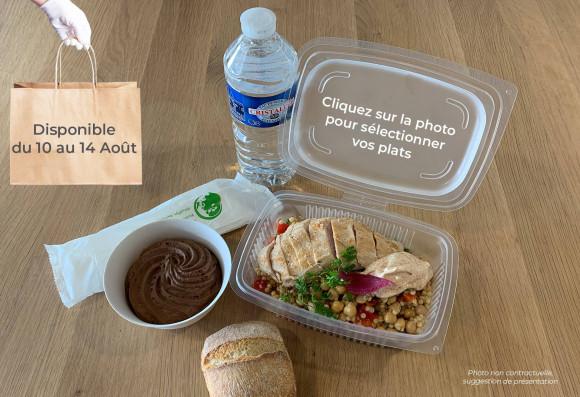 Lunch «Envol» (froid) (1 plat au choix, 1 dessert au choix,1 petit pain, 1 eau de source 50cl, 1 sachet de couverts)