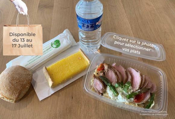 Lunch «Bain de soleil» (froid) (1 plat au choix, 1 dessert au choix,1 petit pain, 1 eau de source 50cl, 1 sachet de couverts)
