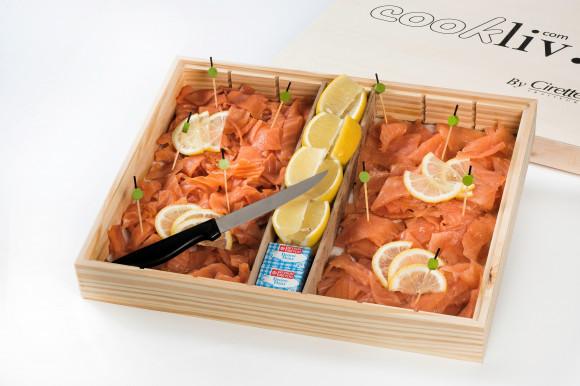 Coffret du Pêcheur (saumon fumé, rillettes de poisson et gambas)