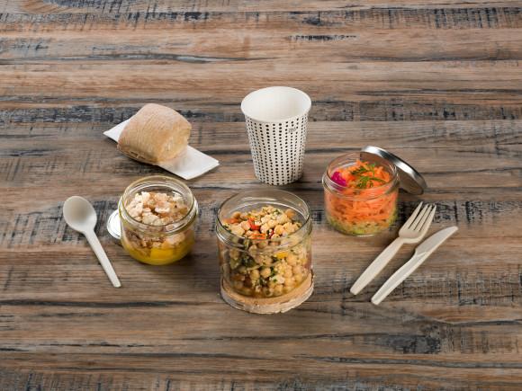 «GREEN» - VEGAN (Salade lentilles/Taboulé pois chiche & légumes/Crémeux exotique mangue)