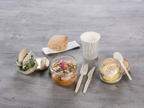 «BON & SAIN» (Rillette de poulet/Crevettes & mousseline de patate douce/tarte citron meringuée)