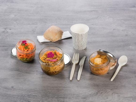 «GLOBE-TROTTEUR» (Salade lentilles/Boeuf & céréales à l'indienne/Baba rhum banane et ananas)