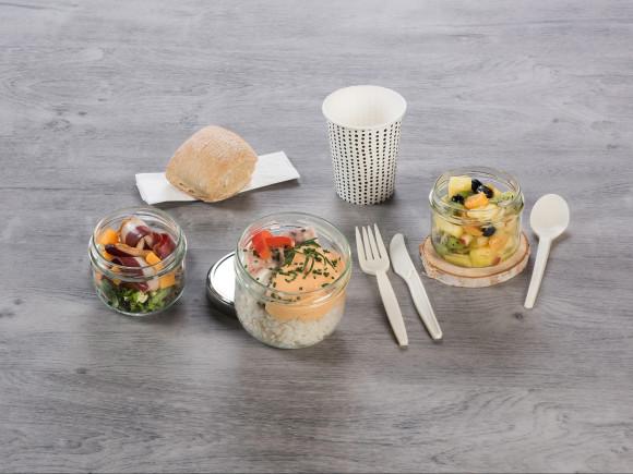 «AIR PUR» (Salade magret et mimolette/Cabillaud & riz/Salade de fruits)