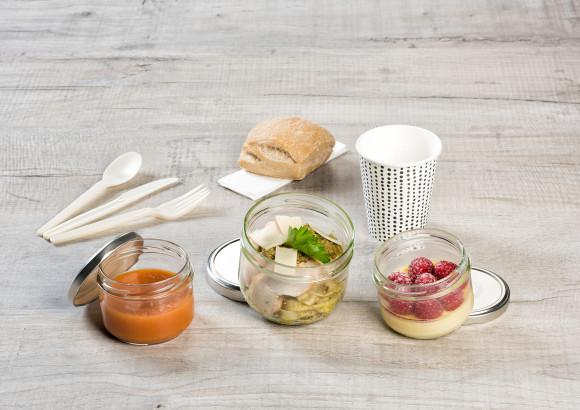 «Matelot» (Gaspacho tomate/Poulet/Crème vanille framboises)